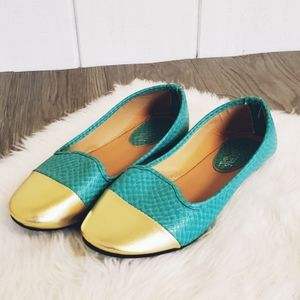 NWT, ballet, slipper, turquoise, gold, flats,